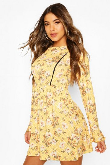 Yellow Floral Print Smock Dress With Lace Insert