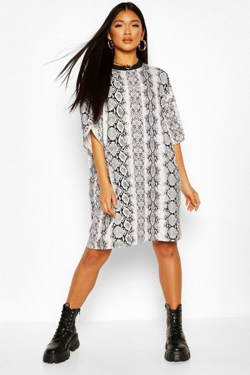 Black Snake Print T-Shirt Dress