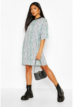 Green Snake Print T-Shirt Dress