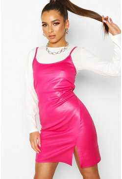 Pink 2 In 1 Long Sleeved T-Shirt & Mock Croc Slip Dress