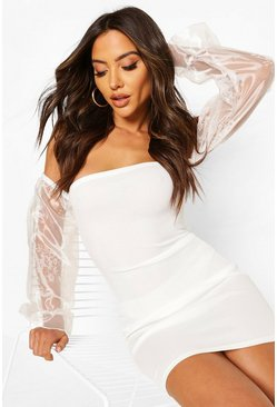 White Bardot Mini Dress With Organza Sleeves