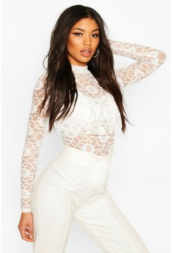 Frill Feature Lace Body With Turtle Neck, White