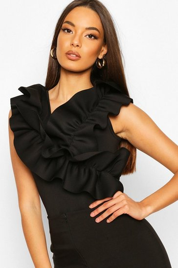 Black Ruffle Front Feature Top