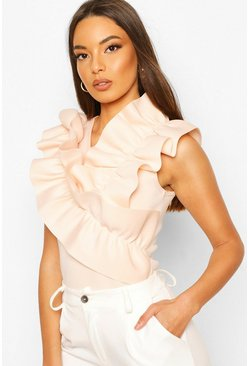 Nude Ruffle Front Feature Top