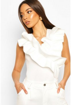 White Ruffle Front Feature Top