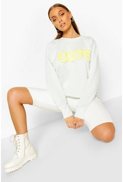 Mint Fur 'Cute' Crew Neck Sweat