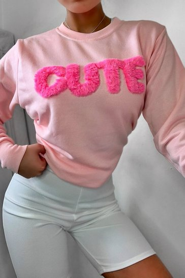 Pink Fur 'Cute' Crew Neck Sweat