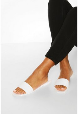 White Jelly Square Toe Sliders