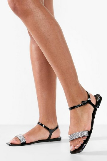 Black Diamante Strap Square Toe Jelly Sandals