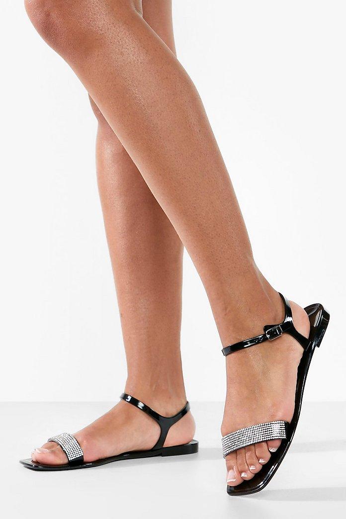 Jelly Sandalen mit strassbesetztem Riemen und quadratischer Zehenpartie