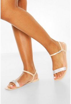 Nude Diamante Strap Square Toe Jelly Sandals