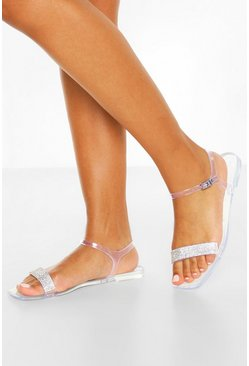 White Clear Diamante Strap Square Toe Jelly Sliders