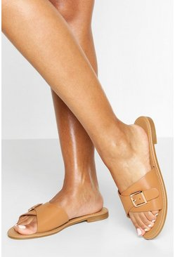 Tan Buckle Detail Sliders