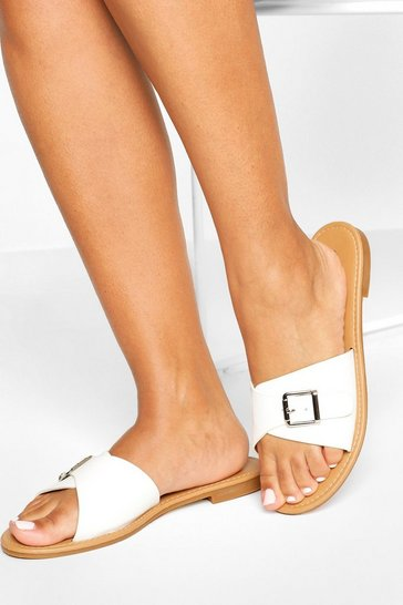 White Buckle Detail Sliders