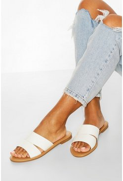 White Croc Peeptoe Sliders