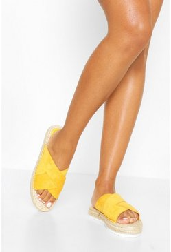 Mustard Cross Strap Espadrille Sliders