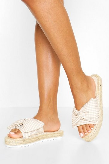 Cream Bow Detail Espadrille Sliders