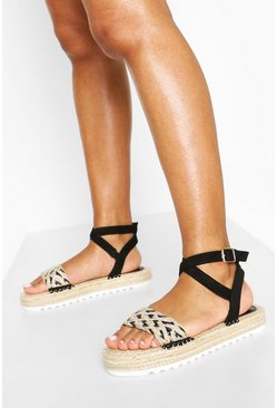 Black Woven 2 Part Espadrille Sandals