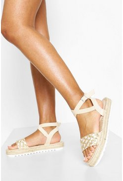 Nude Woven 2 Part Espadrille Sandals