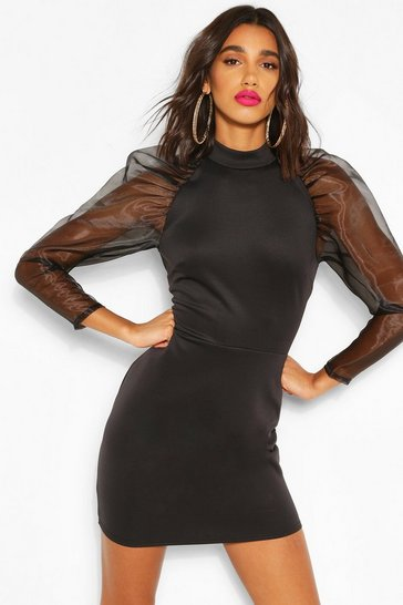 Black High Neck Puff Sheer Sleeve Mini Dress