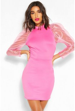 High Neck Puff Sheer Sleeve Mini Dress, Pink