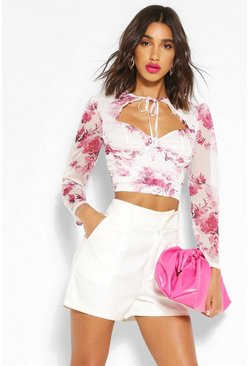 White Tie Neck Floral Crop Top