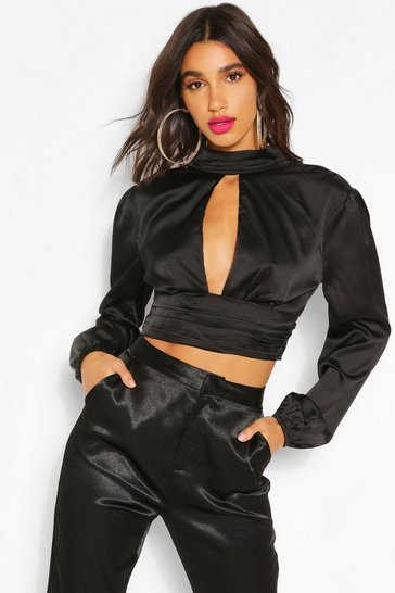 Black High Neck Cut Out Blouson Blouse