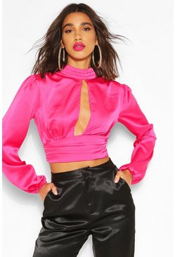 Pink High Neck Cut Out Blouson Blouse
