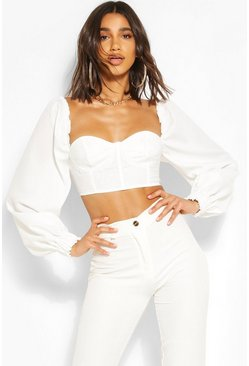 White Volume Puff Sleeve Dobby Mesh Corset Top