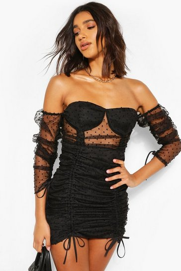 Black Dobby Mesh Ruched Mini Dress