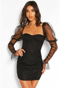Black Mesh Cup Detail Puff Sleeve Mini Dress