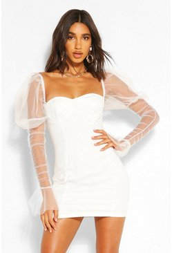 White Mesh Cup Detail Puff Sleeve Mini Dress