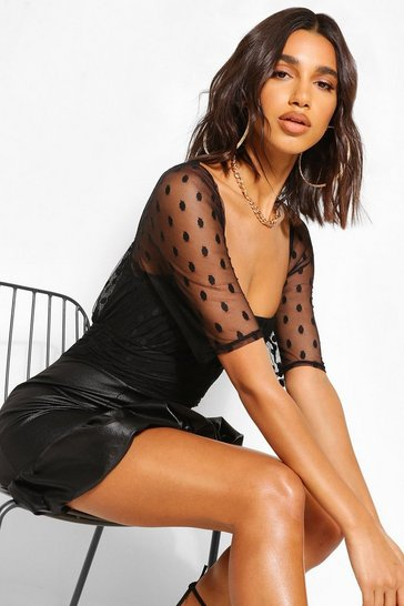 Black Dobby Mesh Volume Sleeve PU Skirt Dress