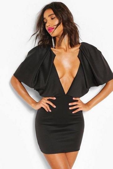 Black Puff Sleeve Plunge Mini Dress