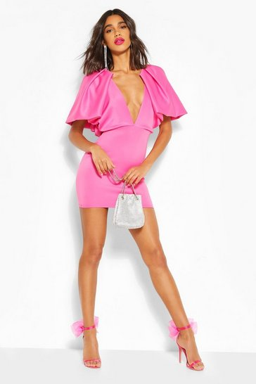 Pink Puff Sleeve Plunge Mini Dress