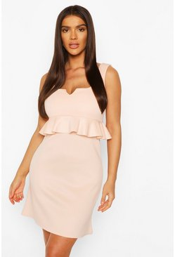 Nude V Plunge Peplum Baby Doll Shift Dress