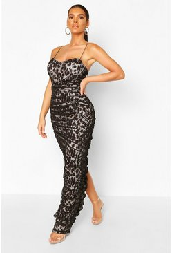 Black Strappy Square Neck Leopard Ruched Maxi Dress