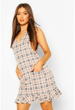 Brown Check V Front Pocket Frill Hem Shift Dress