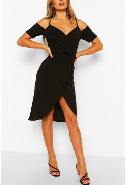 Black Cold Shoulder Tie Waist Wrap Midi Dress