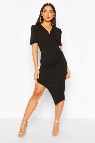 Black Wrap Front Ruched Side Asymetric Midi Dress