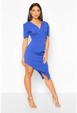 Cobalt Wrap Front Ruched Side Asymetric Midi Dress