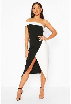 Black One Shoulder Contrast Midi Dress