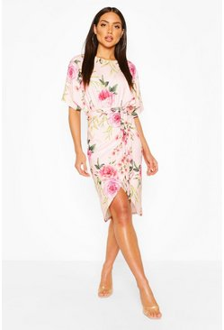 Nude Floral Wrap Tie Waist Midi Dress