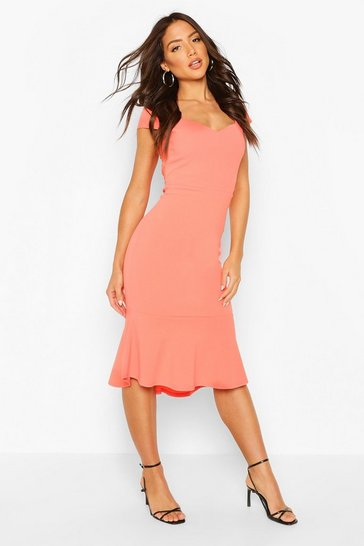 Coral Sweetheart Neck Ruffle Hem Midi Dress