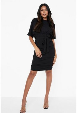 Black Batwing Ruched Side Midi Dress