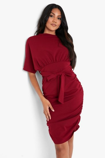 Wine Batwing Ruched Side Midi Dress