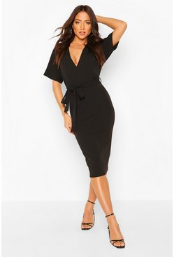 Black Plunge Neck Tie Waist Midi Dress