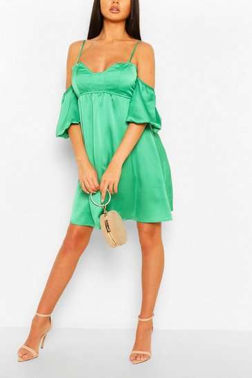 Green Strappy Puff Sleeve Babydoll Swing Dress