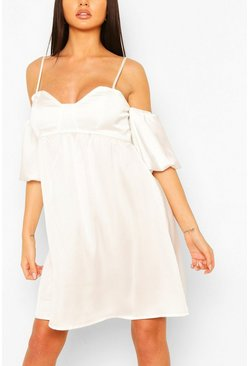 White Strappy Puff Sleeve Babydoll Swing Dress