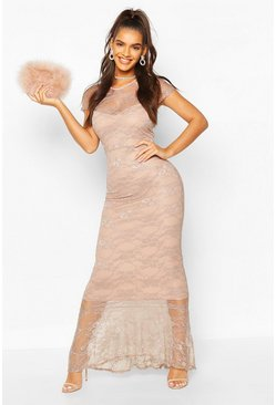 Mocha Full Lace Maxi Dress